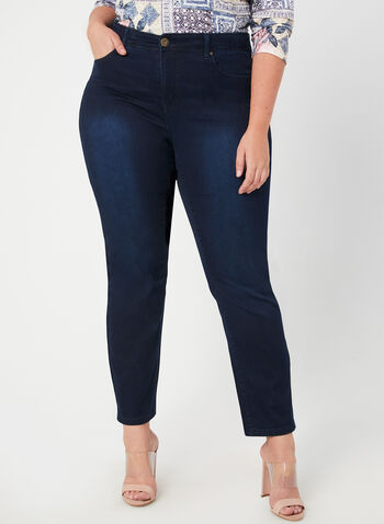Signature Fit Straight Leg Jeans, Blue, hi-res,  fall winter 2019, denim, jeans, beaded detail, straight leg
