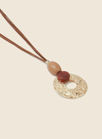 Hammered Ring Pendant Necklace, Brown,  necklace, hammered, metallic, pendant, beads, semi-precious, resin, multi-cord, spring summer 2020