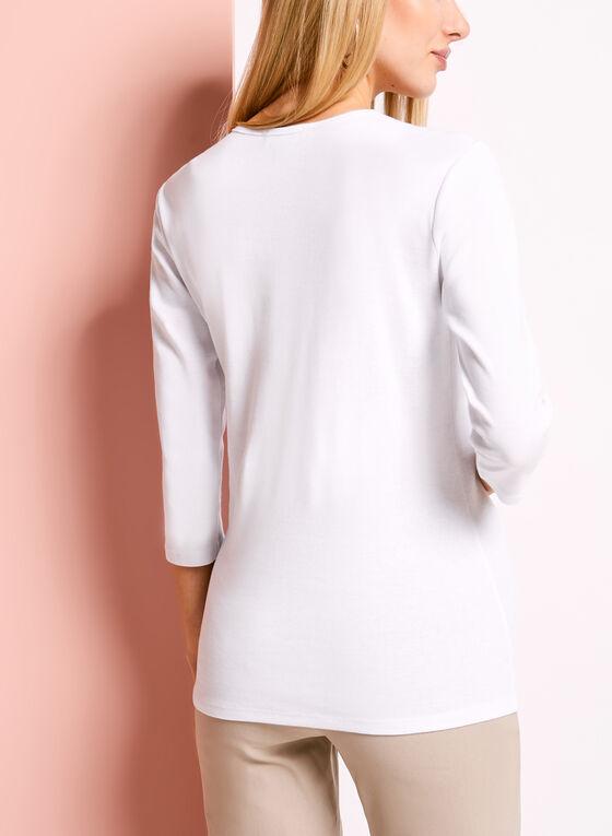 ¾ Sleeve Stud & Zipper Trim Top, White, hi-res