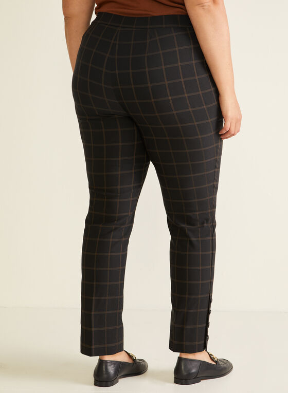 Pantalon pull-on à carreaux, Noir