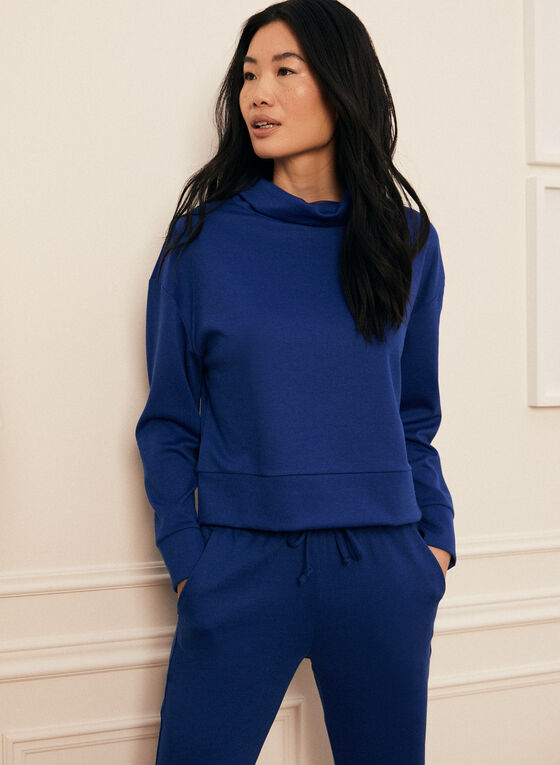 Cowl Neck Long Sleeve Top, Blue