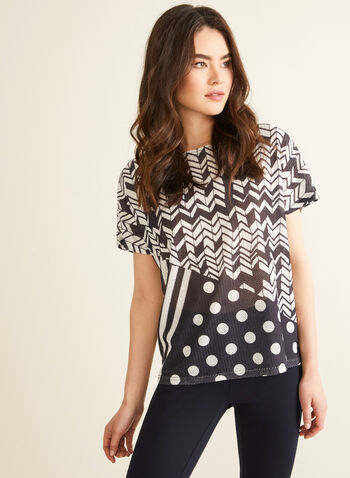 Vex - Geometric Print Top, Black,  spring summer 2020, short sleeves, chevron print, dot print