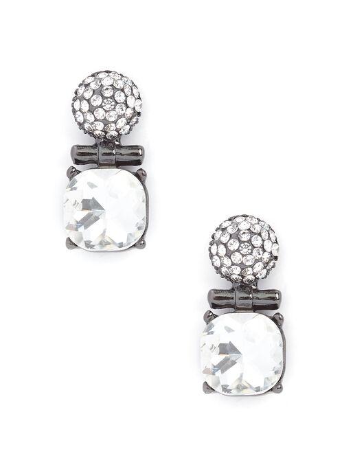 Boucles d'oreilles en pierre facettée et brillants, Gris, hi-res
