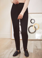 Pinstripe Pull-On Pants, Black