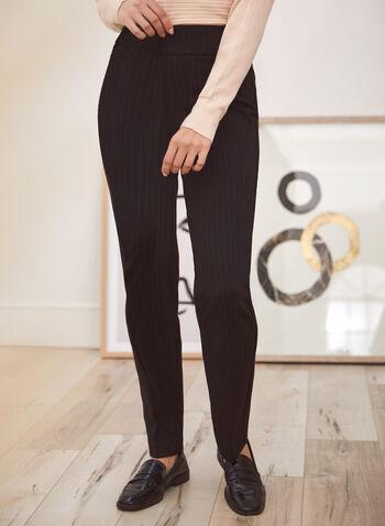 Pinstripe Pull-On Pants, Black,  fall 2021, pants, bottoms, pinstripe, stripe, vertical stripe, striped, pull-on, pull on, elastic waist, straight leg, printed, pdr, ponte de roma, ponte di roma, stretch