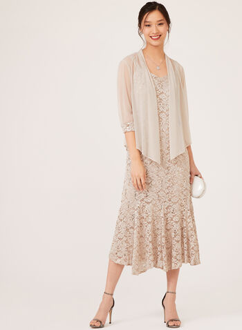 Sequin Lace Dress Bolero Set, Off White, hi-res