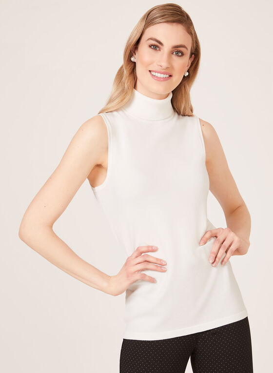 Turtle Neck Tank Top, Off White, hi-res