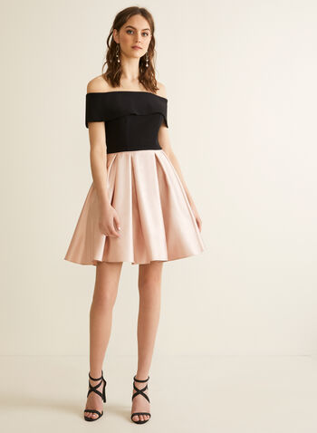 Off-The-Shoulder Flare Dress, Black,  spring summer 2020, off-the-shoulder, flared skirt, satin, jersey, crinoline