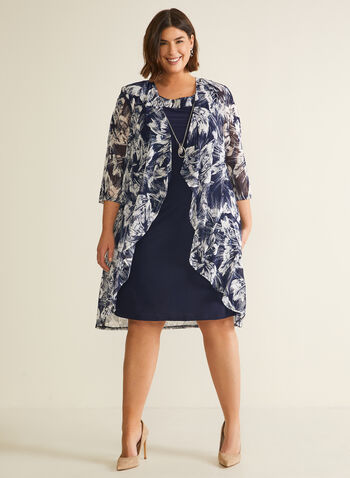 Cocktail Dress & Cardigan Set, Blue,  dress, cardigan, set, necklace, cocktail, floral, chiffon, cascade, 3/4 sleeves, fall winter 2020