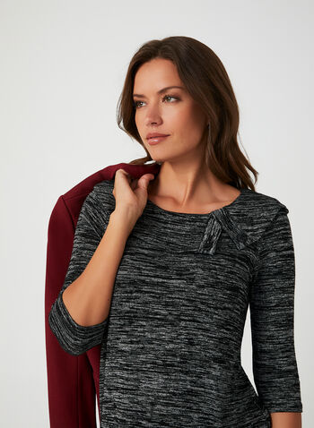 3/4 Sleeve Knit Top, Black, hi-res,  3/4 sleeves, heather knit, fall winter 2019