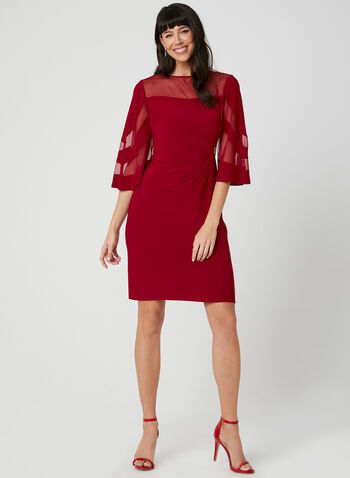 Crystal Detail Illusion Neck Dress, Red, hi-res