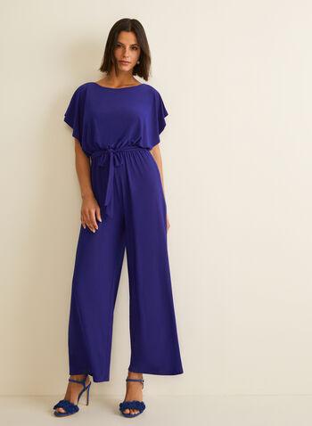 Combinaison à manches courtes et ceinture, Bleu,  combinaison, manches chauve-souris, ceinture, jambe large, jersey, taille cintrée, printemps été 2020