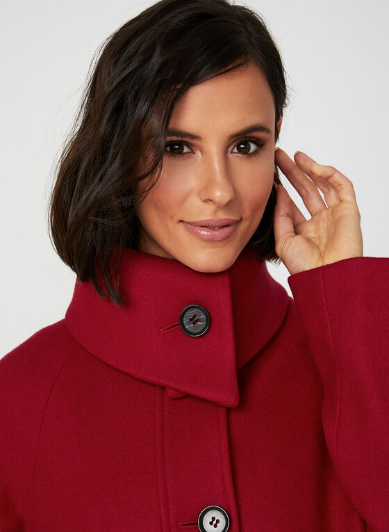 Envelope Collar Button Down Coat, Red, hi-res