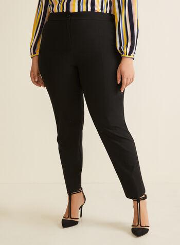 City Fit Straight Leg Pants, Black,  pants, city fit, straight leg, mid rise, pleats, ankle, pockets, spring summer 2020