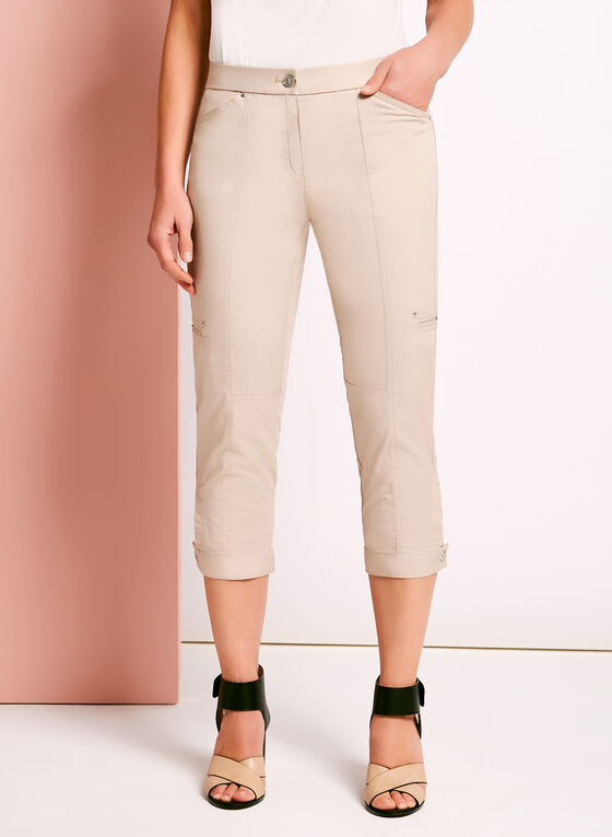Ruched Cargo Capris, Grey, hi-res