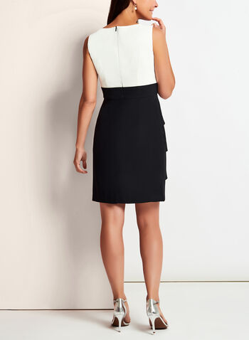 Pearl Trim Tiered Contrast Dress, Black, hi-res