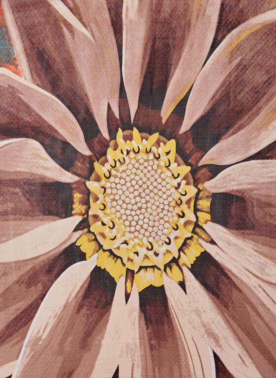 Foulard oblong fleuri, Orange, hi-res