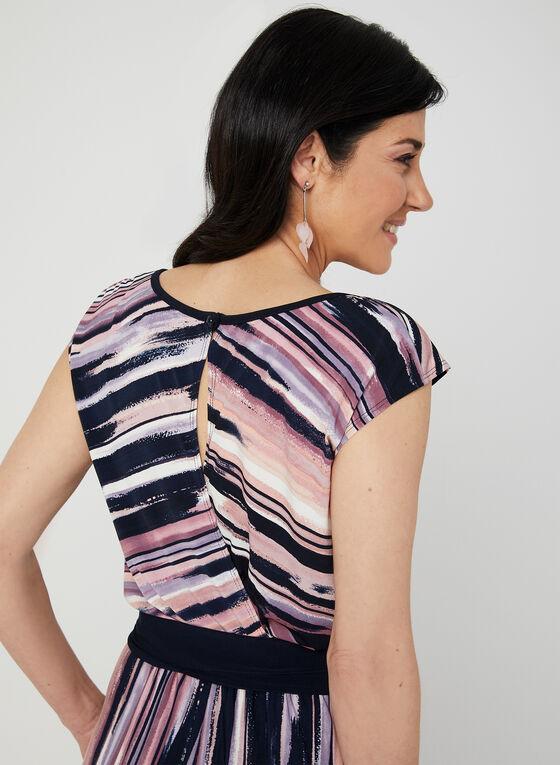 Stripe Print Belted Jumpsuit, Red, hi-res
