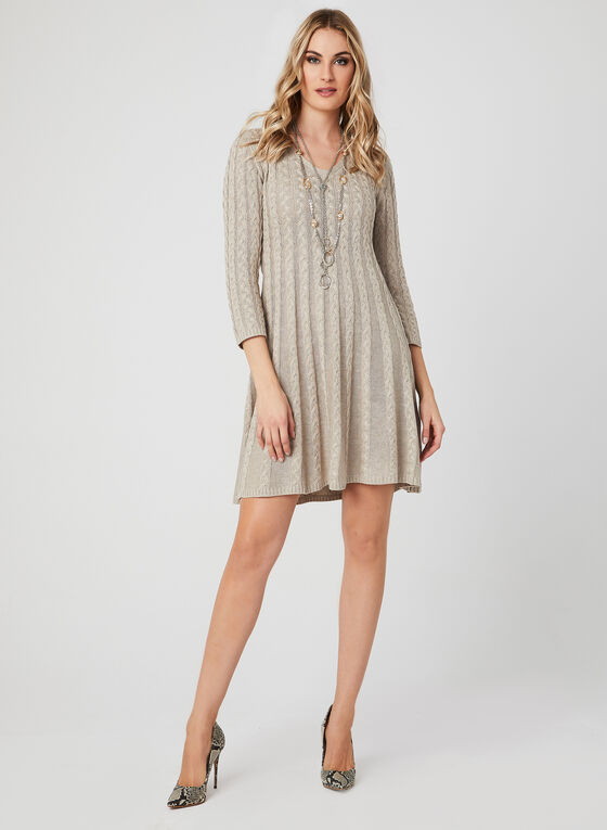 Fit & Flare Knit Dress, Off White, hi-res