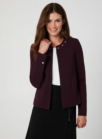 Pearl Detail Open Blazer, Purple,  short jacket, edge-to-edge blazer, open front jacket