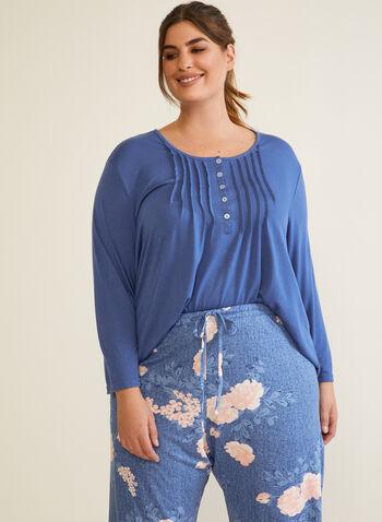 Pleated Front Pyjama Set, Blue,  fall winter 2020, pyjama set, pleated