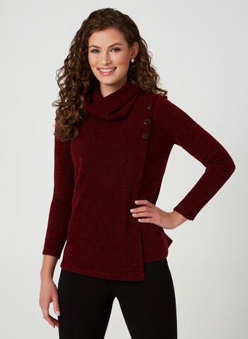 Textured Knit Top, Red,  canada, long sleeves, scoop neck, top, knit, knitwear, textured, button, stretch, fall 2019, winter 2019