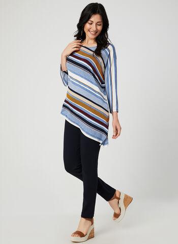 Stripe Print Asymmetric Top, Blue, hi-res,  scoop neck, dolman sleeves, ¾ sleeves, 3/4 sleeves, jersey, fall 2019, winter 2019