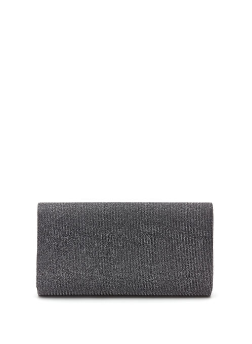 Metallic Trim Glitter Envelope Clutch  , Black, hi-res
