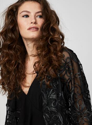 Nina Leonard - Soutache Net Bolero, Black,  bolero, soutache, open front, top, holiday, fall 2019, winter 2019