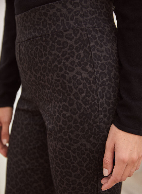 Leopard Print Pull-On Pants, Brown
