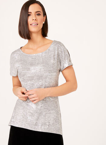 Metallic Cold Shoulder Top, Grey, hi-res
