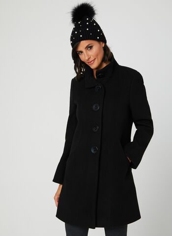 Faux Wool Button Down Coat, Black, hi-res
