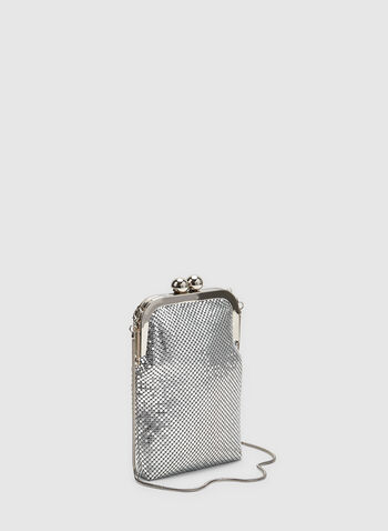 Metallic Coin Purse Clutch, Silver, hi-res,