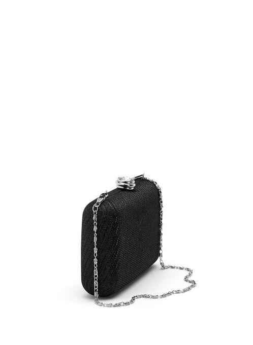 Stone Closure Box Clutch, Black, hi-res