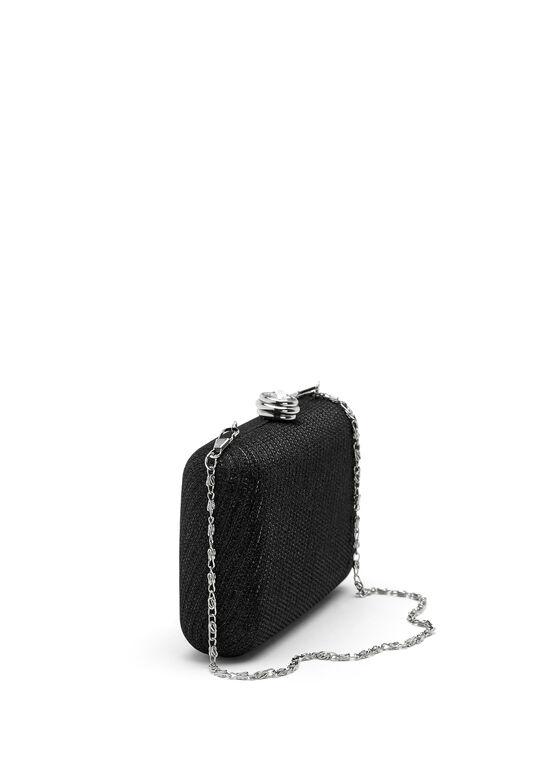Minaudière scintillante avec fermoir en pierre facettée, Noir, hi-res