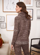 Cowl Neck Sweater Knit Top, Brown