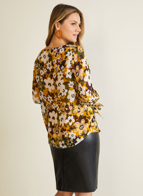 Floral Print Tie Sleeve Blouse, Yellow