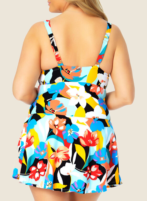 Anne Cole - Twist Front Swim Dress, Multi