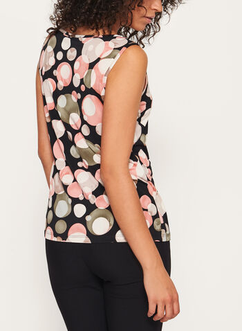 Bubble Print Sleeveless Jersey Top, Black, hi-res