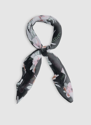 Floral Print Pleated Scarf, Black, hi-res