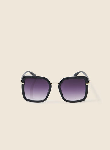 Contoured Square Sunglasses, Black,  sunglasses, metal, plastic, square, spring summer 2020