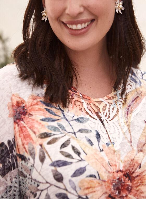 T-shirt floral à détails en dentelle, Brun