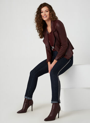 Simon Chang - Jeans coupe signature à bandes, Bleu, hi-res,  automne hiver 2019, jeans, jean, denim, jambe étroite, coupe signature, Simon Chang, bandes latérales