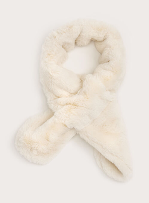 Echarpe en fausse fourrure, Blanc cassé, hi-res