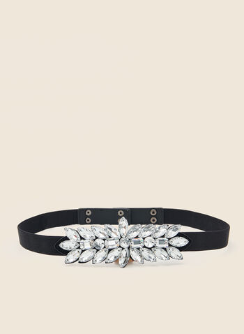 Crystal Detail Elastic Belt, Black,  accessories, belt, elastic, crystal, fall winter 2020