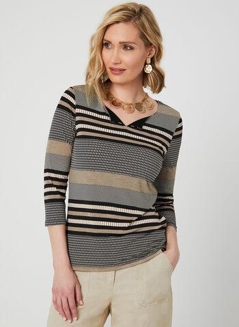 Stripe Print ¾ Sleeve Top, Black, hi-res,  3/4 sleeves, jersey, v-neck, spring 2019, summer 2019