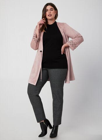 Faux Suede Open Front Jacket, Purple, hi-res,  suede, grommet sleeves, jacket, open front, fall 2019