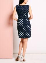 Sleeveless Dot Print Tiered Dress, Blue, hi-res