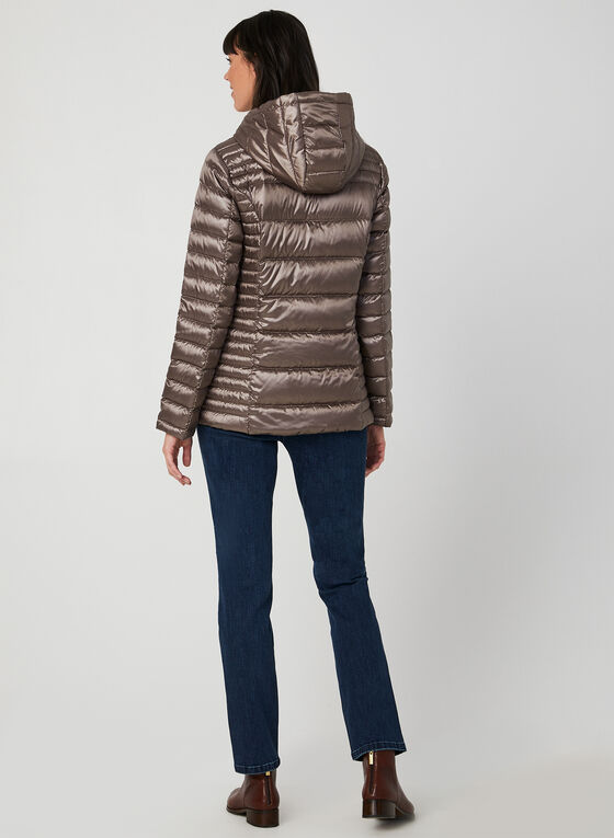 Packable Quilted Down Coat, Brown