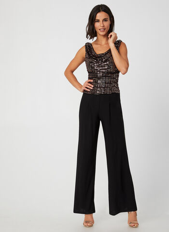 Sleeveless Glitter Jumpsuit, Black,  fall winter 2019, sleeveless, sequins, wide leg, jersey